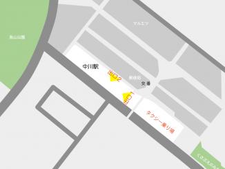 中川駅の構内図と周辺地図