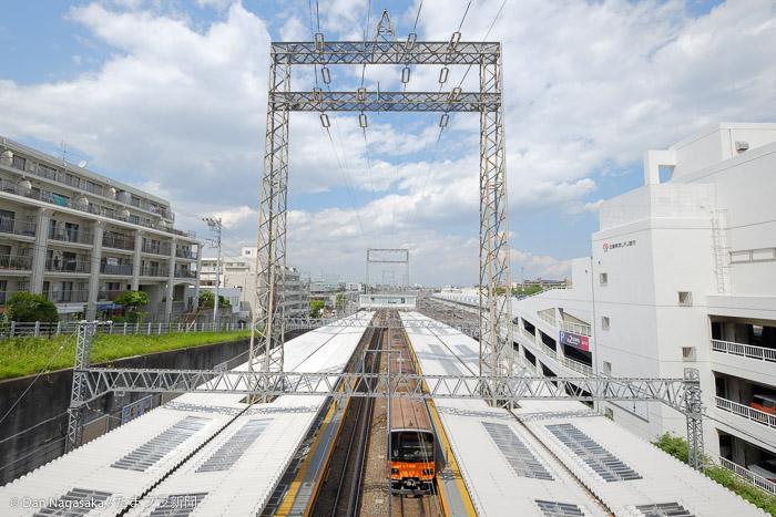 鷺沼駅のホームと車両基地