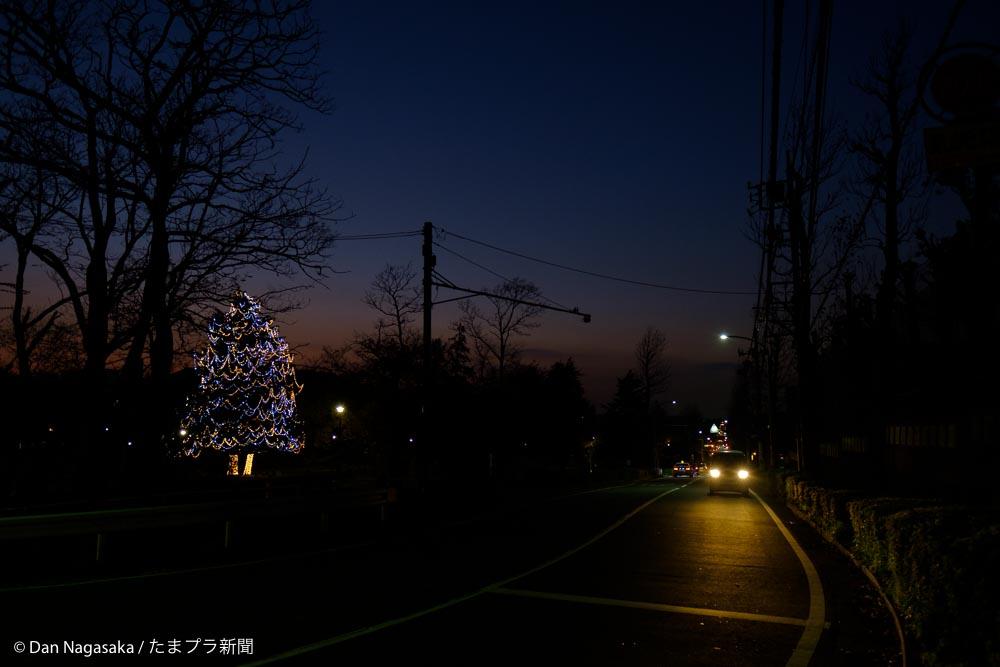 夜の美しが丘公園と車道