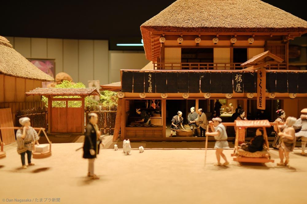 江戸時代の茶屋店前のジオラマ