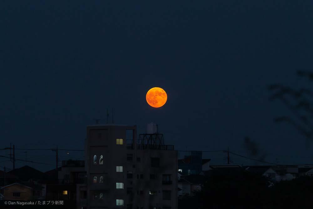 ビルと赤い満月