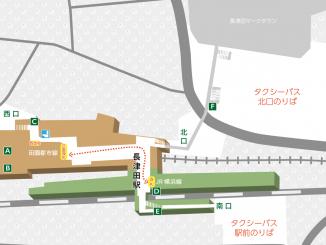長津田駅の構内図と周辺地図