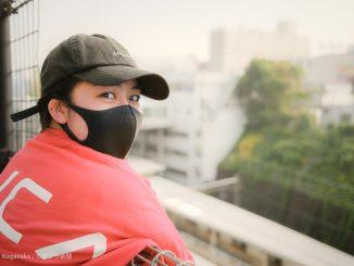 鷺沼でマスク女子ポートレート