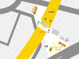 江田駅の校内図と周辺地図
