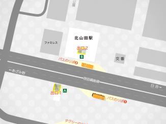 北山田駅の構内図と周辺地図
