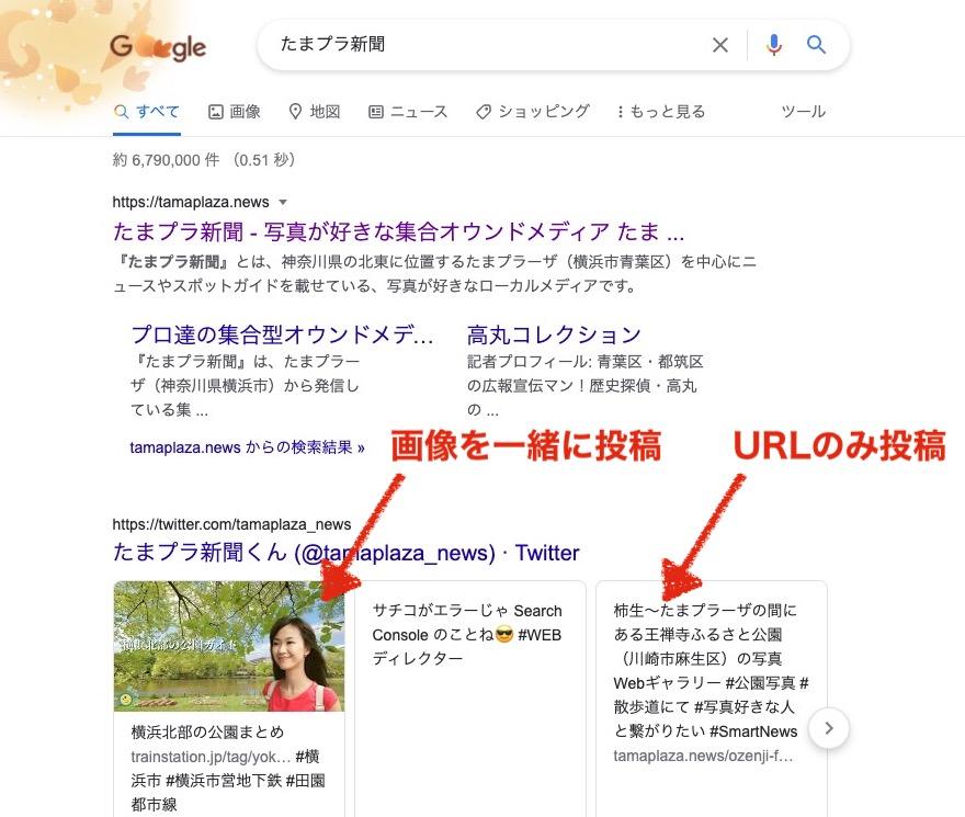Google検索結果のツイート情報