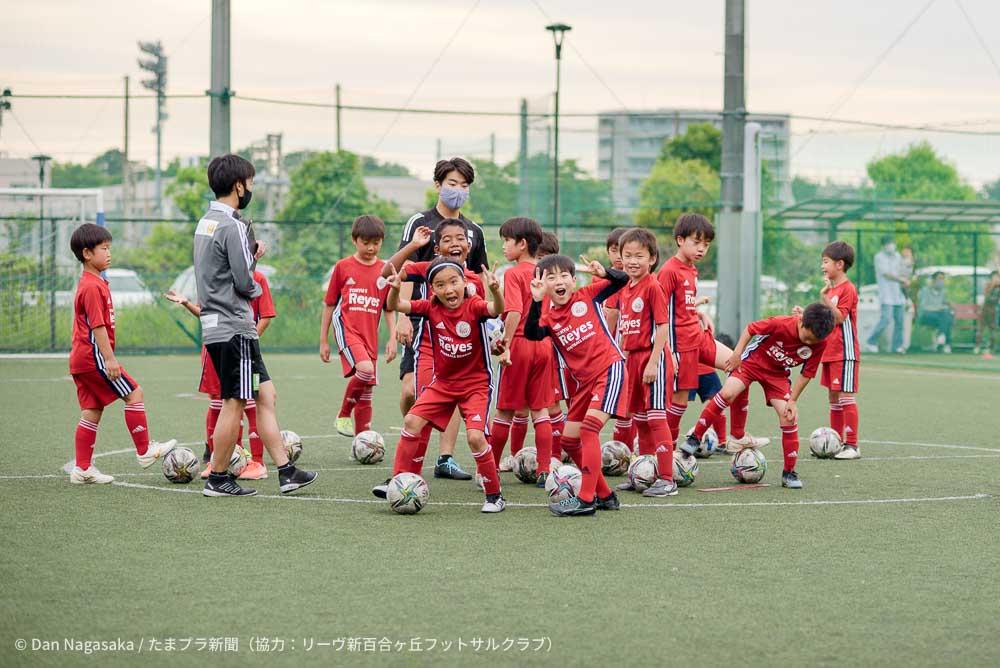 東急Sレイエス フットボールスクール受講の小学生たち