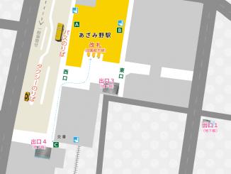 あざみ野駅の構内図と周辺地図